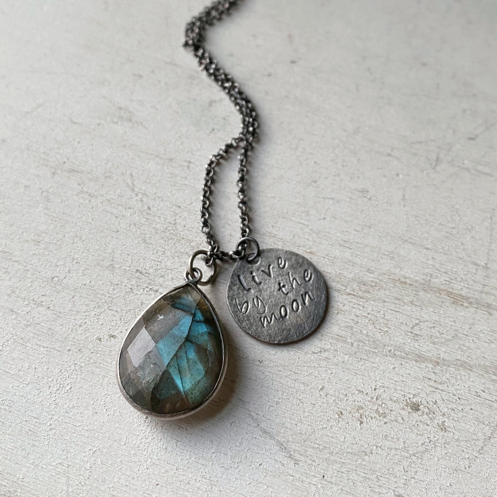 Live By the Moon Necklace with Labradorite (Small)- Ready to Ship