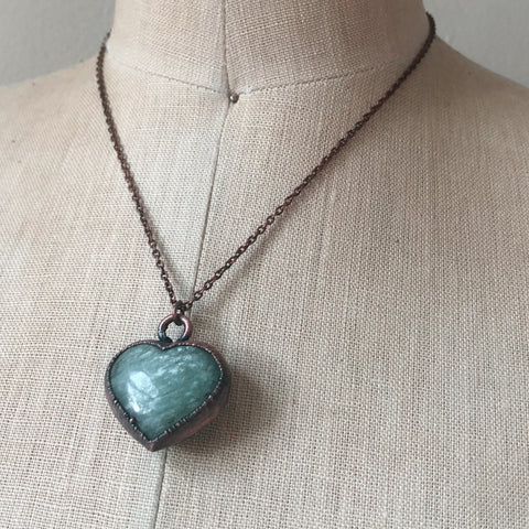 Amazonite Heart Necklace - Ready to Ship