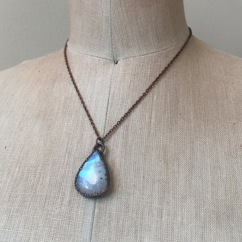 Rainbow Moonstone Teardrop Necklace - Ready to Ship