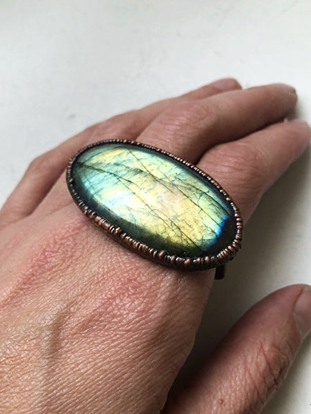 Large Labradorite Two Finger Ring  #2 (5/17 Update)