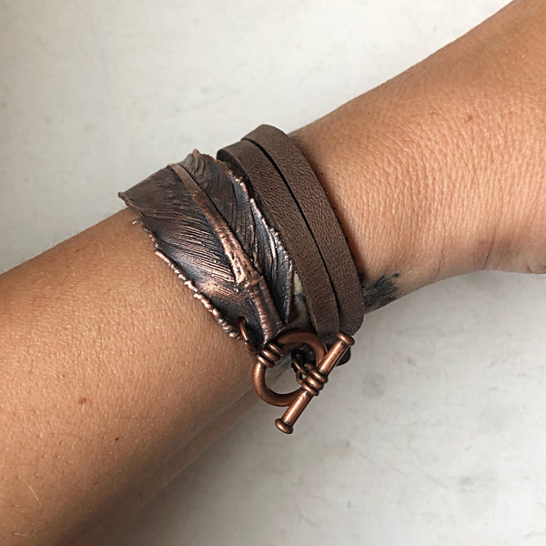Electroformed Feather and Leather Wrap Bracelet - Ready to Ship