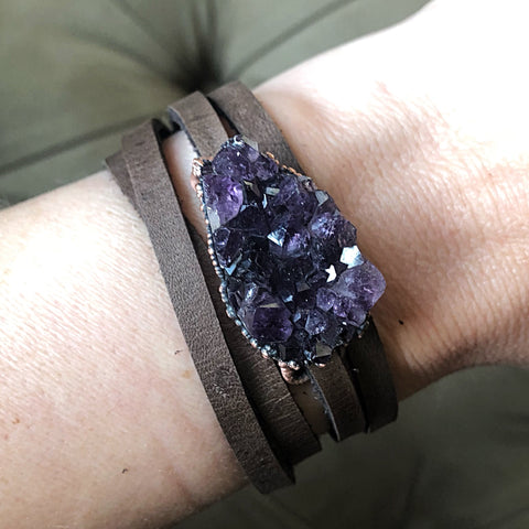Raw Amethyst Druzy Wrap Bracelet/Choker - Snow Moon Collection