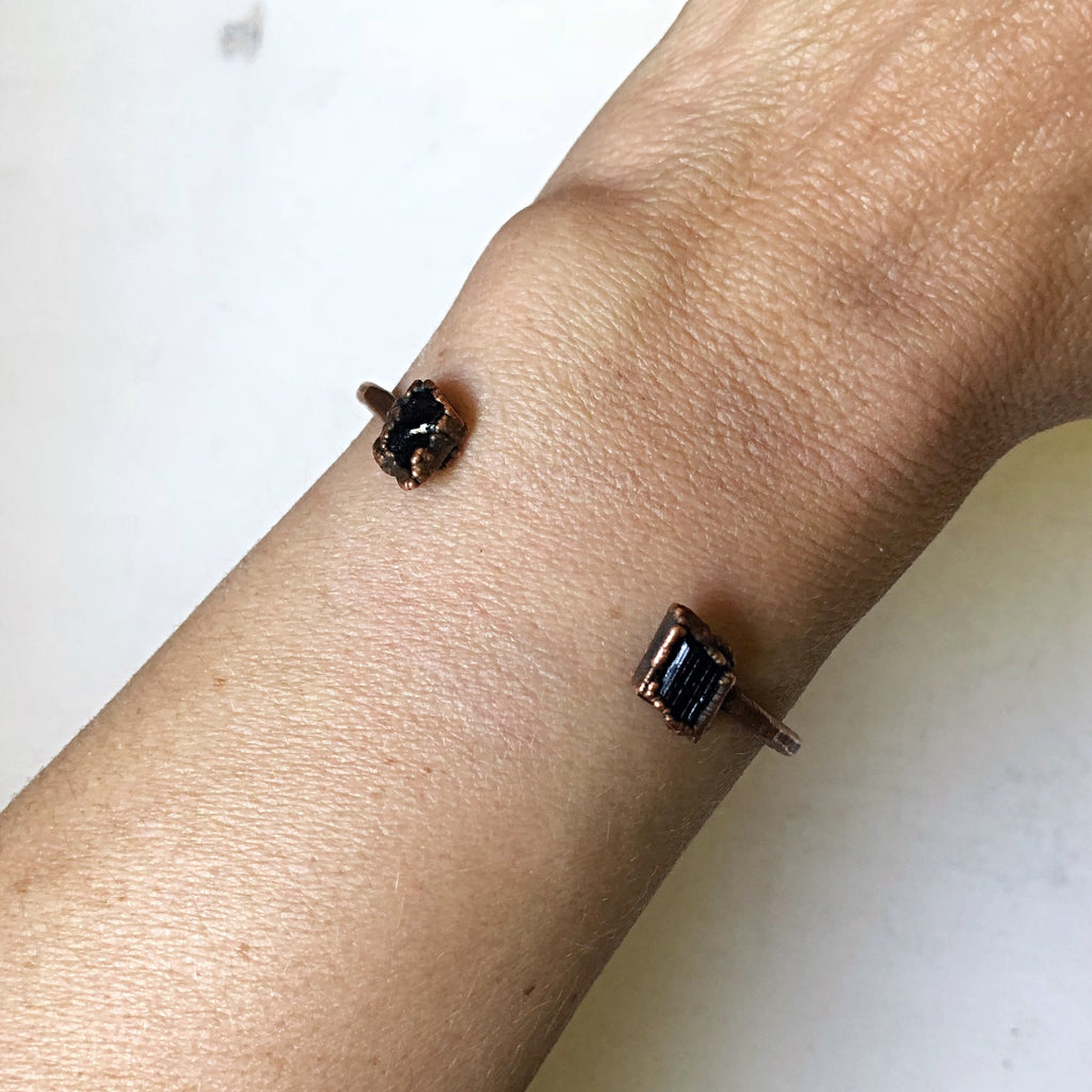 Raw Black Tourmaline Chakra Cuff Bracelet - Holiday Made to Order