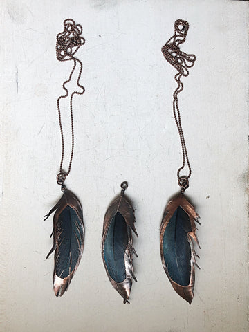 Electroformed Macaw Feather Necklace (Style 3) - Moksha Collection
