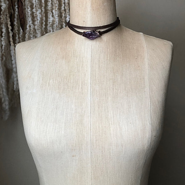 Raw Amethyst Point Wrap Bracelet/Choker