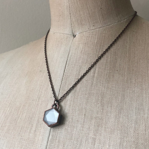 White Moonstone Hexagon Necklace #1 - Ready to Ship