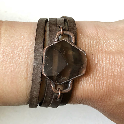 Smoky Quartz Hexagon and Leather Wrap Bracelet/Choker (Flower Moon Collection)