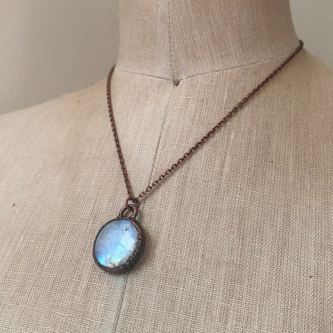 Rainbow Moonstone Round Necklace #2 - Ready to Ship