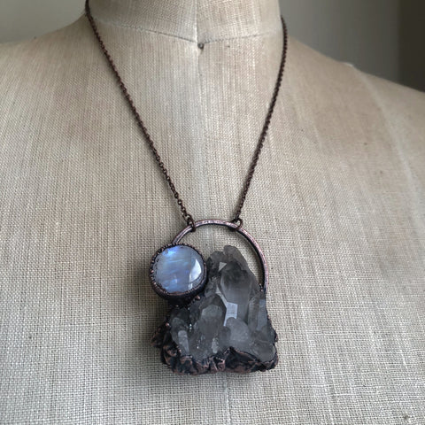 Smoky Quartz Cluster & Rainbow Moonstone Necklace #3 - Ready to Ship
