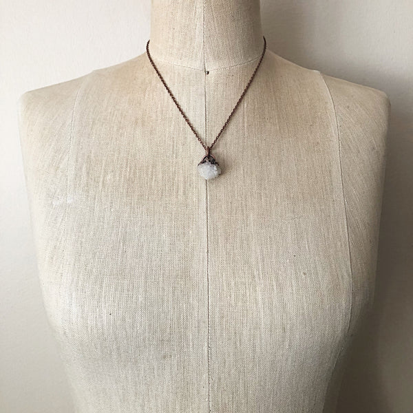 Clear Quartz Druzy Necklace #2 - Ready to Ship (4/25 Update)