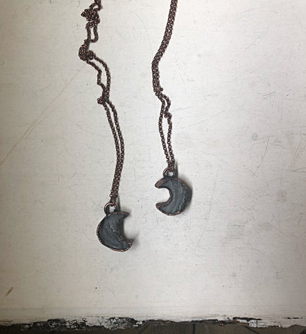 Chalcedony Crescent Moon Necklace (Ready to Ship) - Darkness Calling Collection