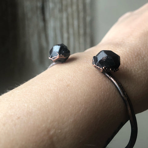 Raw Garnet Cuff Bracelet - Ready to Ship