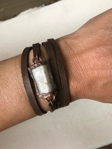 Selenite and Leather Wrap Bracelet/Choker (Satya Collection)