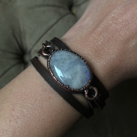 Rainbow Moonstone & Leather Wrap Bracelet/Choker #2 - Ready to Ship