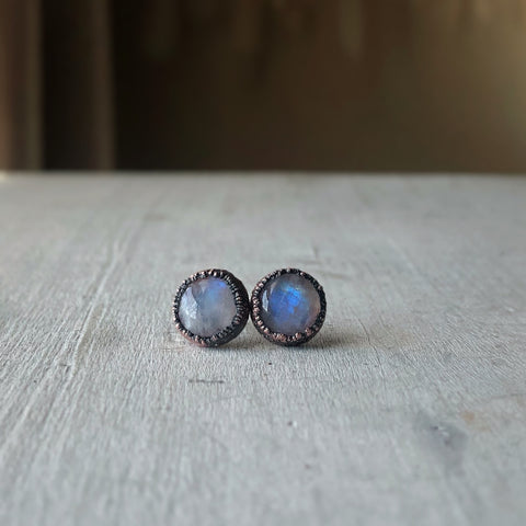 Rainbow Moonstone Stud Earrings #1 - Ready to Ship