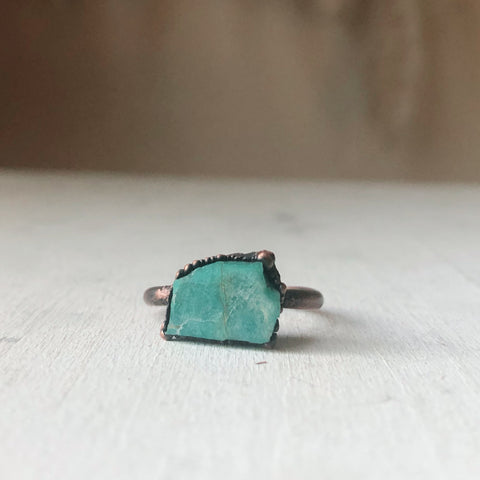 Raw Amazonite Ring - #2 (Size 7.5) - Ready to Ship