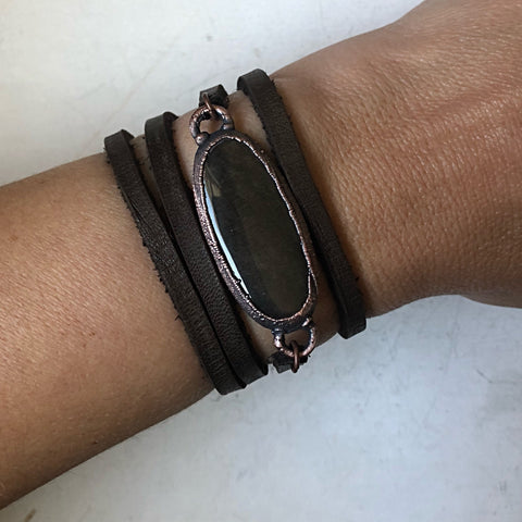 Silver Obsidian and Leather Wrap Bracelet/Choker #1 (Ready to Ship) - Darkness Calling Collection