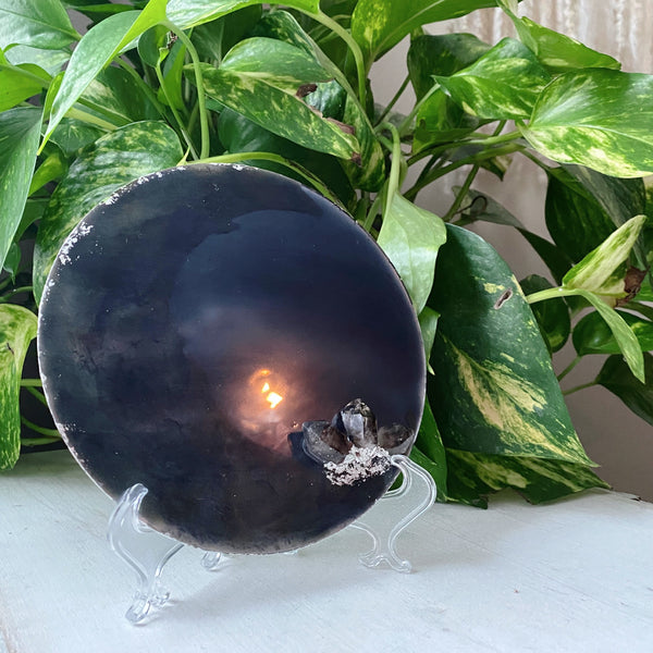 The Crescent Moon Scrying Mirror with Black Tibetan Quartz - Ready to Ship