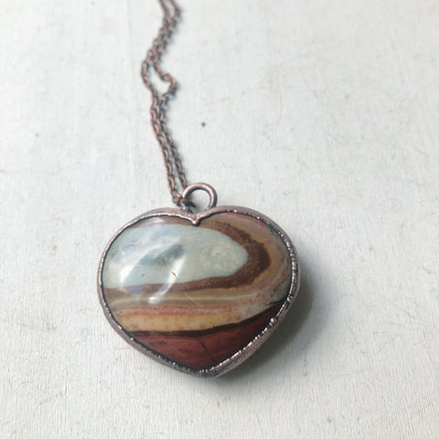 Polychrome Jasper Heart Necklace #5