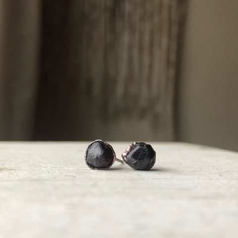 Raw Garnet Stud Earrings #3 - Ready to Ship