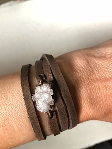 White Druzy and Leather Wrap Bracelet/Choker (Satya Collection)