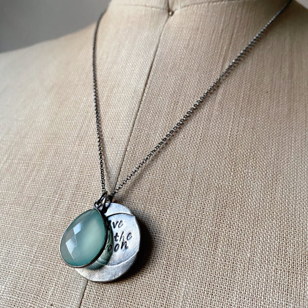 Live By the Moon Necklace with Light Blue Calcedony (Large)- Ready to Ship