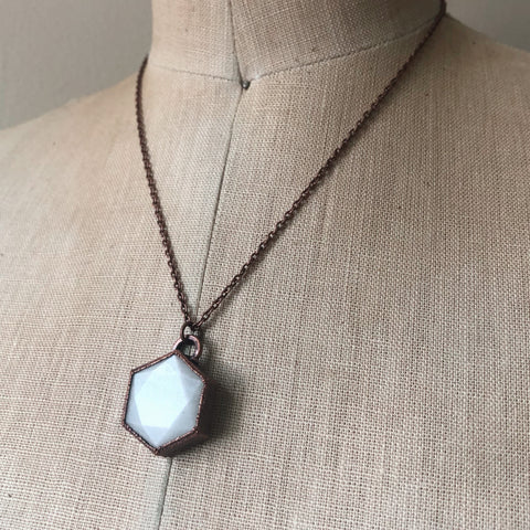 White Moonstone Hexagon Necklace #6 - Ready to Ship