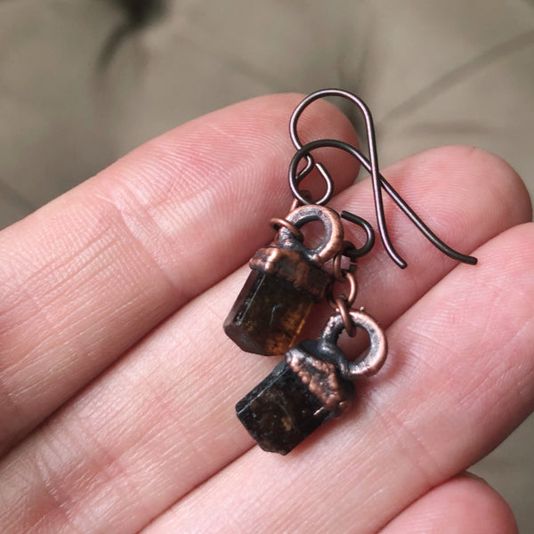 Dravite (Brown Tourmaline) Hanging Earrings #1 - Ready to Ship