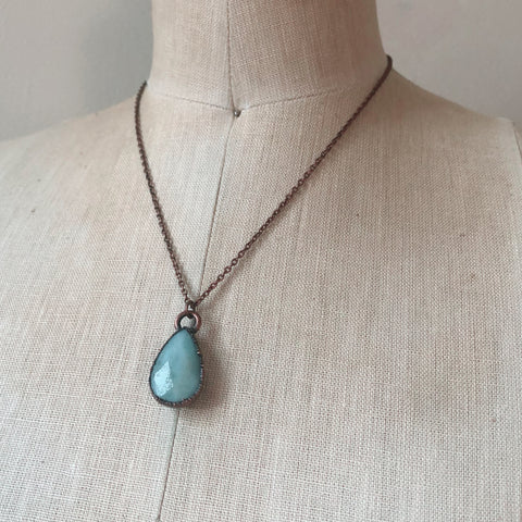 Faceted Amazonite Teardrop Necklace - Ready to Ship