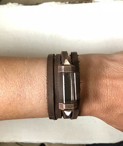 Clear Double Terminated Point and Leather Wrap Bracelet/Choker (Satya Collection)