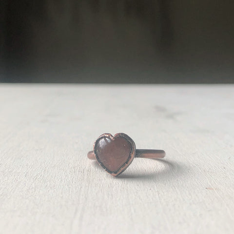 Sunstone Heart Ring - #1 (Size 6.5-6.75) - Ready to Ship