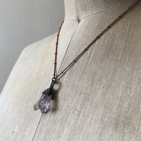 Raw Pale Amethyst Triple Point Necklace - Ready to Ship