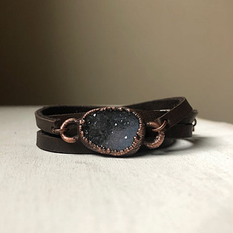 Gray Druzy and Leather Wrap Bracelet/Choker #1 - Ready to Ship