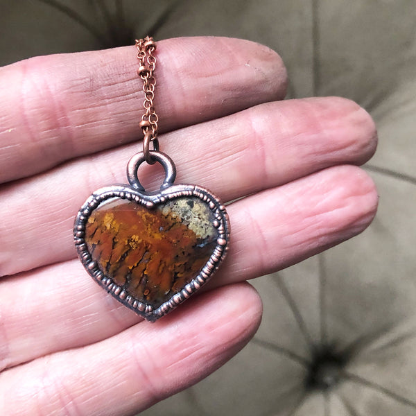 Moss Agate Heart Necklace #2 - Ready to Ship