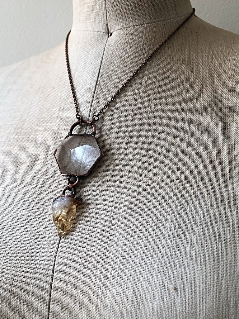 Clear Quartz Hexagon & Raw Citrine Necklace (Icarus Soaring)
