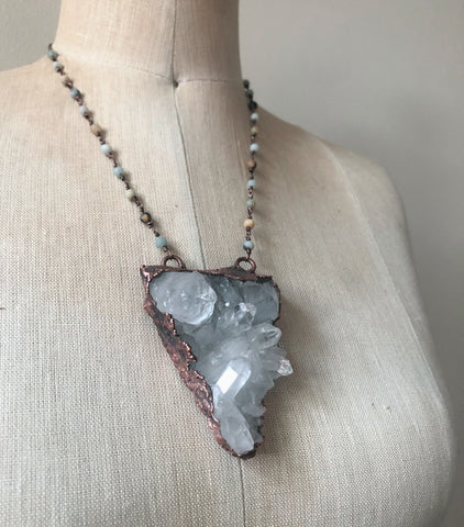 Clear Quartz Statement Necklace with Amazonite Chain - Ready to Ship