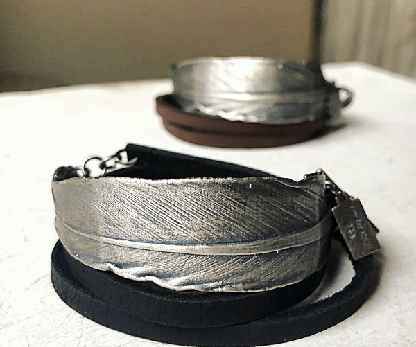Sterling Silver Feather and Leather Wrap Bracelet