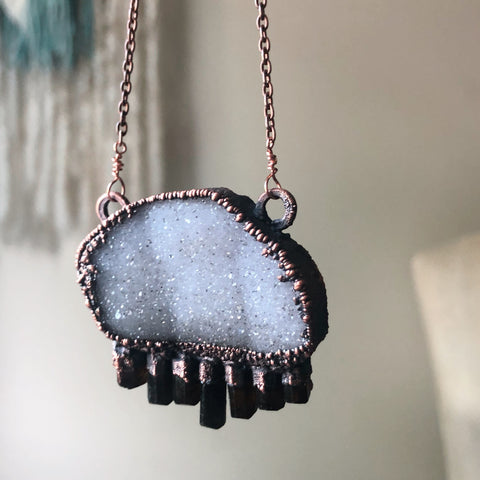 White Druzy and Dravite Statement Necklace - Ready to Ship