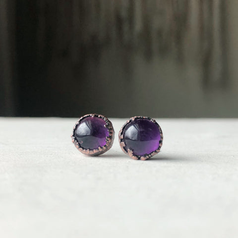 Round Amethyst Earrings #2 - Ready to Ship