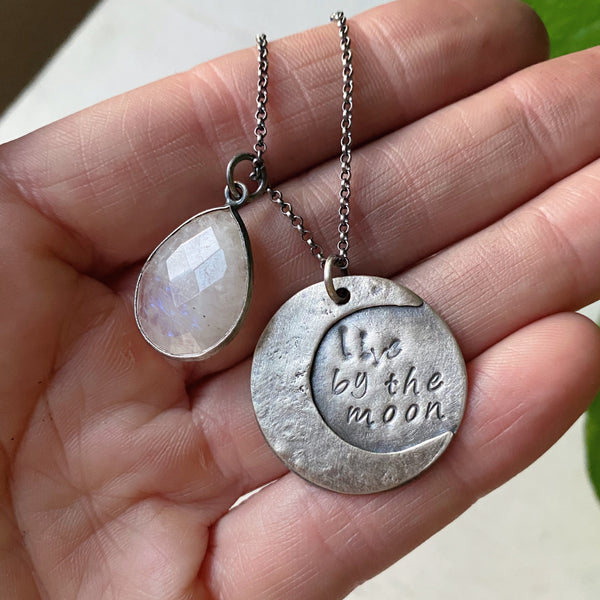 Live By the Moon Necklace with Rainbow Moonstone (Large)- Ready to Ship
