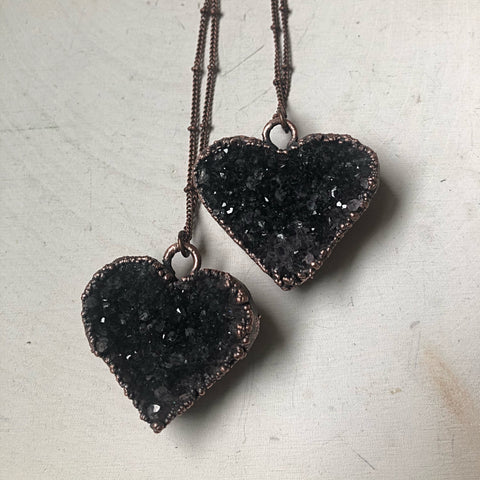 Dark Amethyst Druzy Heart Necklace - Snow Moon Collection