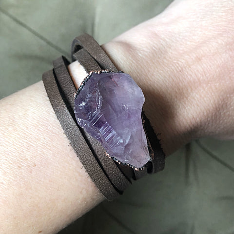 Raw Amethyst and Leather Wrap Bracelet/Choker - Ready to Ship