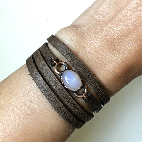 Rainbow Moonstone and Leather Wrap Bracelet/Choker (Flower Moon Collection)