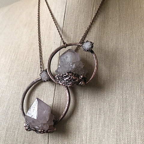 Amethyst Spirit Quartz with Druzy Moon Necklace - Snow Moon Collection