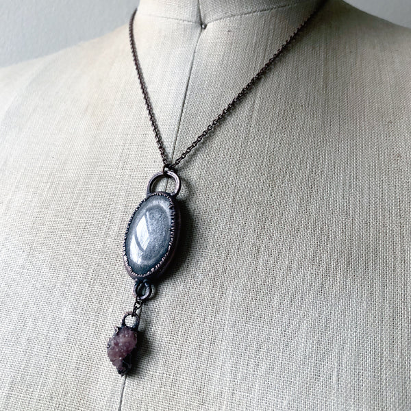 Silver Obsidian & Pink Amethyst Necklace