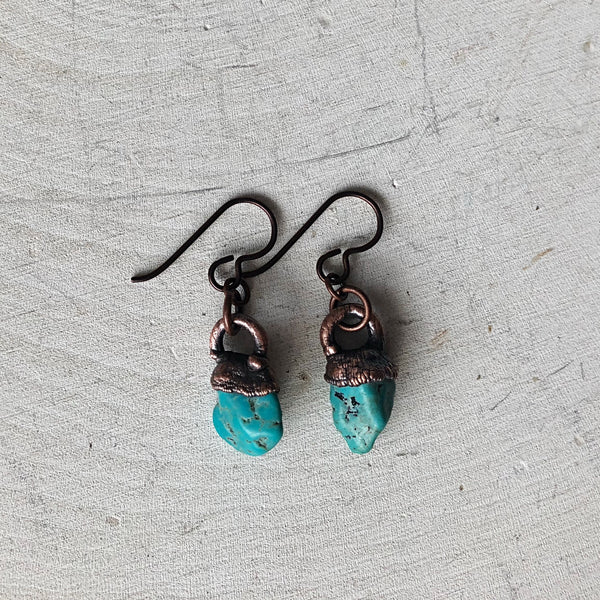 Raw Kingman Turquoise Hanging Earrings #1 - Ready to Ship (4/25 Update)