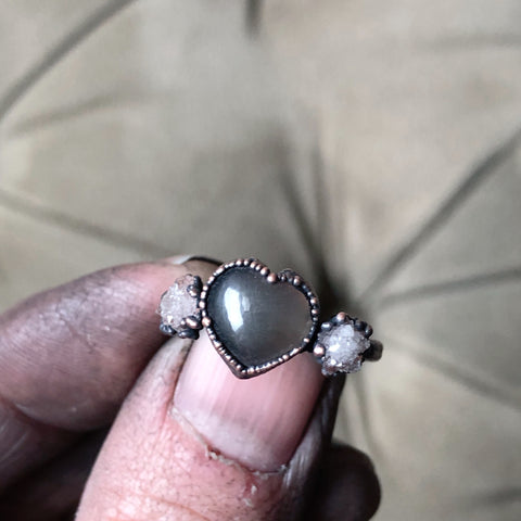 Grey Moonstone & Clear Quartz Druzy Ring - #1 (Size 6) - Ready to Ship