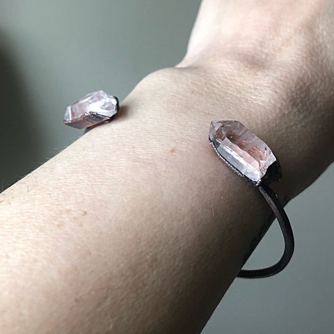 Raw Clear Quartz Chakra Cuff Bracelet - Made to Order
