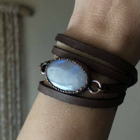 Rainbow Moonstone & Leather Wrap Bracelet/Choker #1 - Ready to Ship