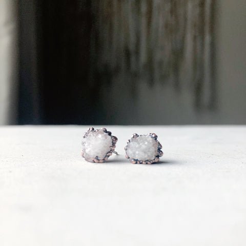 Clear Quartz Druzy Earrings #4 - Ready to Ship
